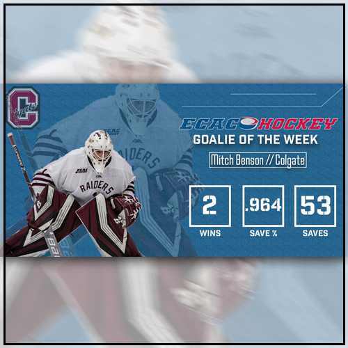 Mitch Benson - ECAC Goalie of the Week
